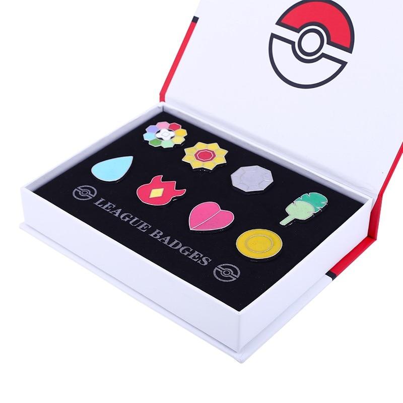 10 Sets Pocket Monster Pokemon Kanto 8 Metal League Gym Badge Pin Pip Gen Cosplay Prop Collection Set 80*Badges + 10* Boxes