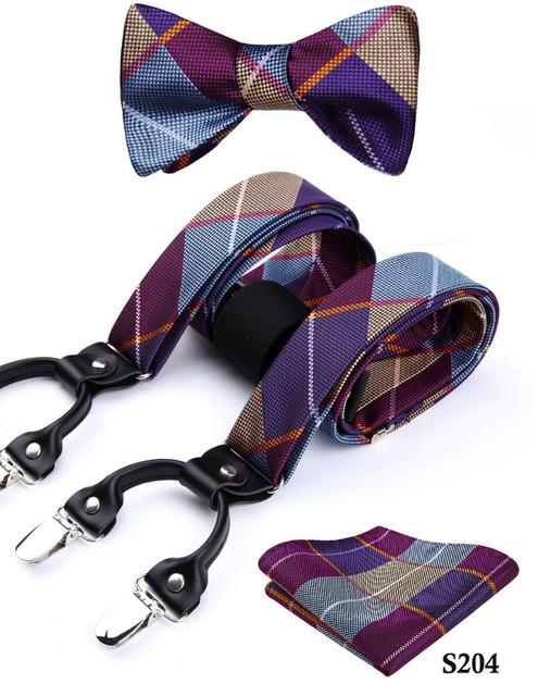 Check&plaid Various Classic Braces 6 Clips Suspenders  Self Bowtie and Pocket Square Set #S2