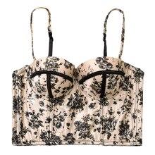 여성 섹시한 여름 팜 & 꽃 프린트 bralet 여성용 bustier bra cropped tops