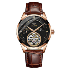 AILANG Skeleton Tourbillon Mechanical Watch Men Automatic Self Wind Mechanical Stainless Steel Leather Military Watch Waterproof цена
