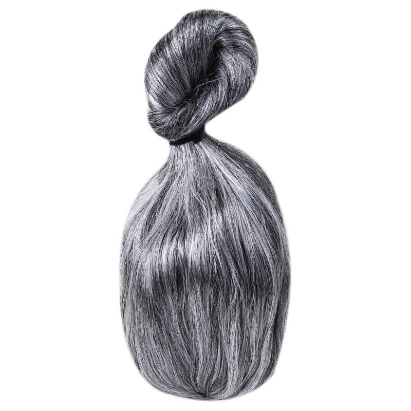 Старая женщина серебряные волосы большой Санта-Клаус бабушка шиньон Рождественское украшение для волос платье шоу парик косплей костюм для вечеринки