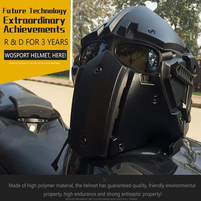 Motor Full Face Helmet Protective Obsidian Casque For Motorcycle Tactical Military Training Polymer Engineering Materials - 5