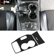 JHO Real Carbon Fiber Gear Shift Water Cup Holder Panel Cover Trim For 2014 Jeep Grand Cherokee 2015 Car Styling Accessories carbon fiber 2 pcs set for audi q7 s line 2016 gear shifter water cup holder trim cover trim