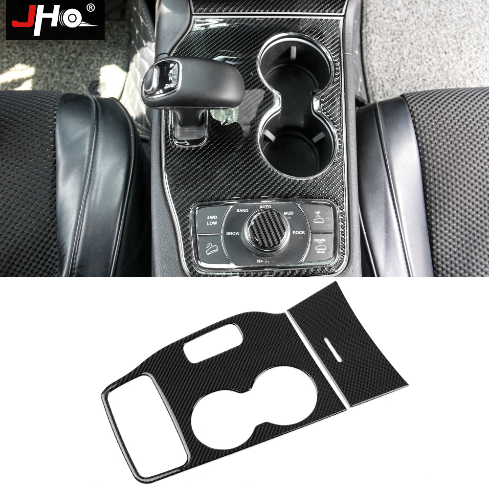 JHO Real Carbon Fiber Gear Shift Water Cup Holder Panel Cover Trim For Jeep Grand Cherokee 2014 2015 Car Styling Accessories for nissan armada patrol royale qx56 qx80 y62 2016 2018 gear shift trim water cup holder panel cover styling sticker lhd 3pcs