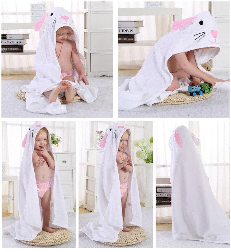 Детское банное полотенце с квадратным капюшоном с изображением совы и лисы/пляжные полотенца для детей - Цвет: white cat