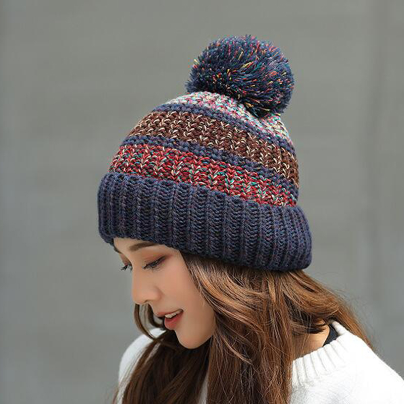 New   Beanie   Hat Women Autumn Winter Hat Thick Warm Colorful Pompon Hat Lady Casual Knitted Hat Female Ski   Skullies     Beanies
