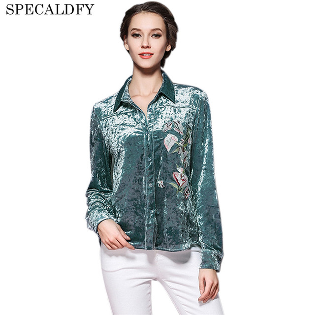 35f05212cc0996 European Fashion Vintage Shirt Floral Embroidery Velvet Top Blouse Winter Womens  Tops And Blouses 2018 New Spring Autumn Shirts