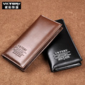 Fashion Boyfriend Gift Wallet Black Brown Men's Long Leather Wallet Men Business ID Card Holder Purse Clutch Bifold Soft Bag