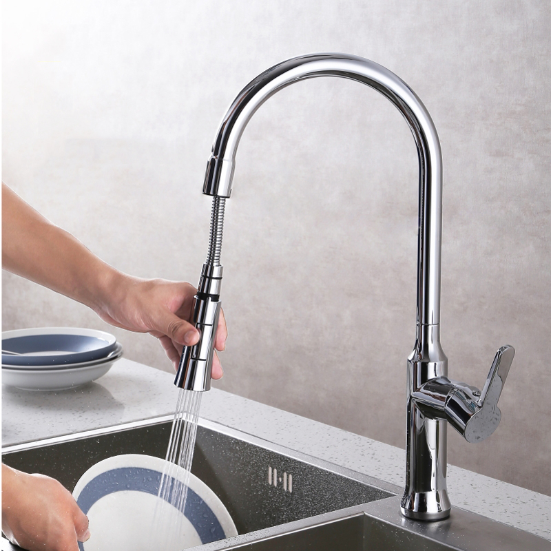 Chrome Kitchen  Sink Faucet Save Water Pull Down Spray Mixer Tap Faucet with Single Handle,Brass kitchen chrome plated brass faucet single handle pull out pull down sink mixer hot and cold tap modern design