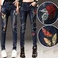 2017 Del Otoño Del Resorte de Las Mujeres Jeans Mediados de Cintura Bird Floral Bordado Jeans Ladies Harem del Dril de algodón Más Tamaño E572