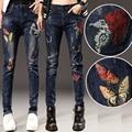 2017 Spring Autumn Women Jeans Mid Waist Bird Floral Embroidery Jeans Ladies Harem Denim Pants Plus Size E572