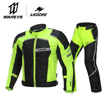 LYSCHY Summer Winter Detechable Waterproof Motorcycle Jacket Breathable Mesh Jacket Moto Pants Suit Clothing Protective Gear lyschy motorcycle jacket motorbike riding jacket pant waterproof motorcycle full body protective gear armor winter moto clothing