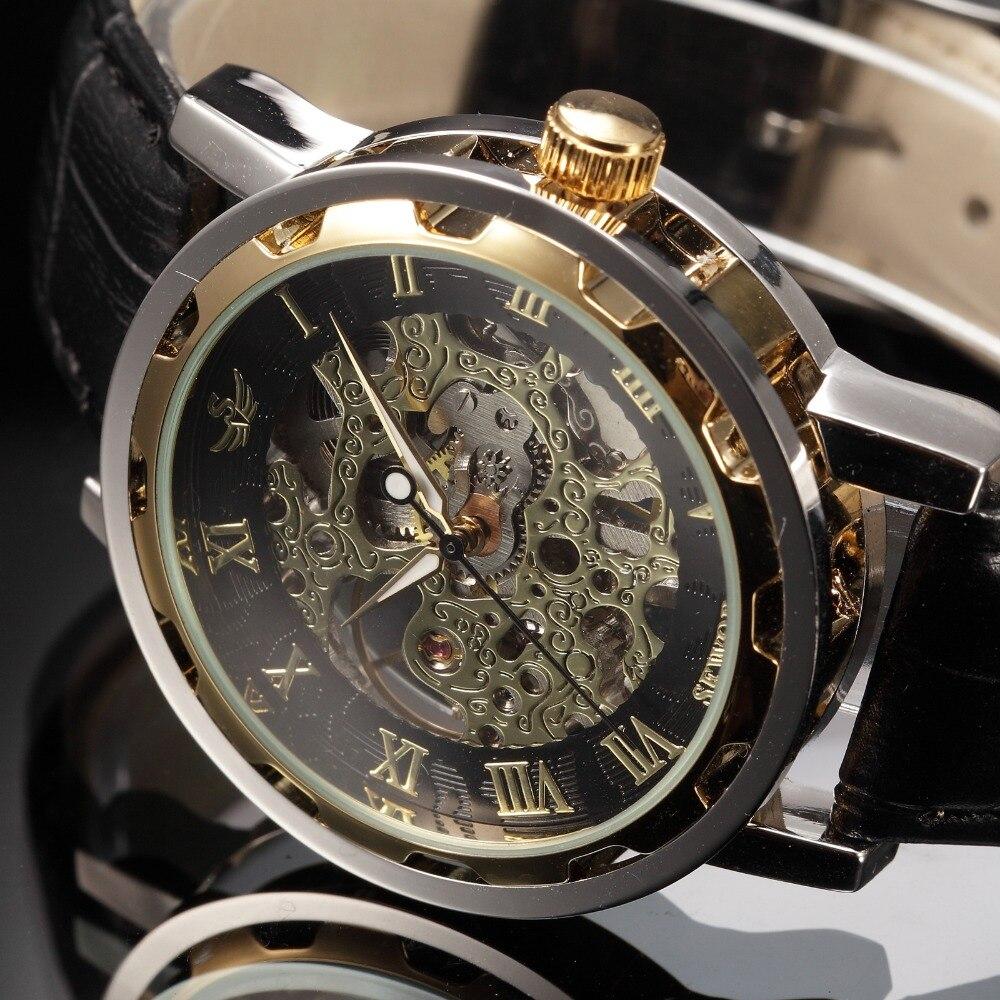 a3f44f26bb2b SEWOR Марка Hollow Скелет наручные часы Мода Повседневное Механический  ручной взвод часы человек часы Роскошный мужской Бизнес кожа Relogio