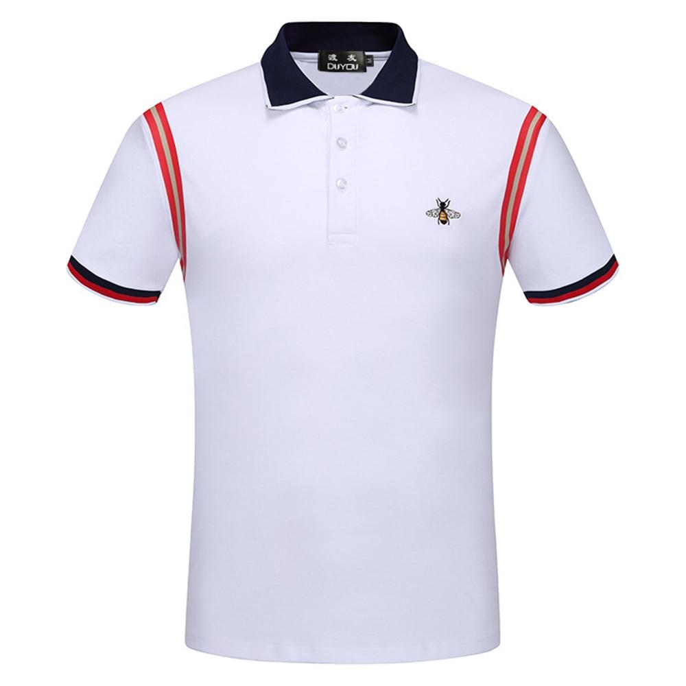 DUYOU nouveau luxe Designer hommes polos hommes marque vêtements simple décontracté patchwork polos mâle top qualité 100% coton DY703084