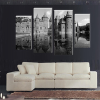 4 Pcs No Frame European Castle Wall Art Picture Modern Home Decoration Living Room Or Bedroom