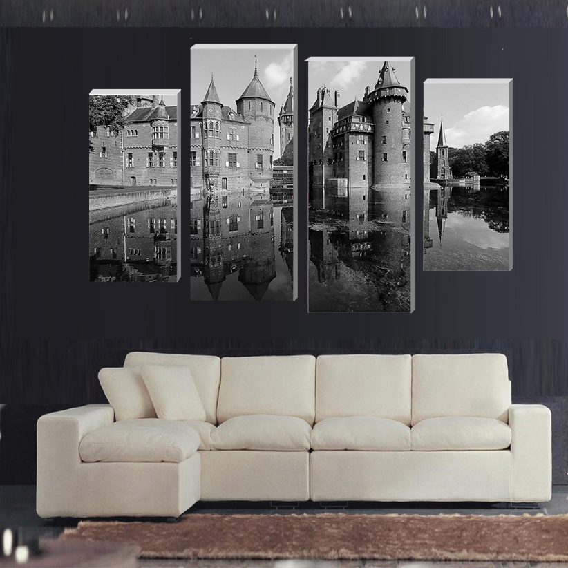 frame european castle wall art picture modern home decoration living
