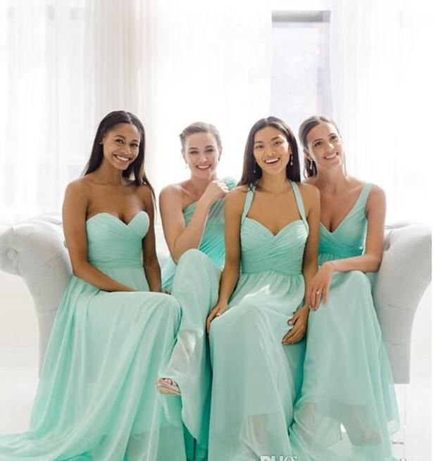 2017 cheap teal mint green long chiffon bridesmaid dresses for Green beach wedding dresses