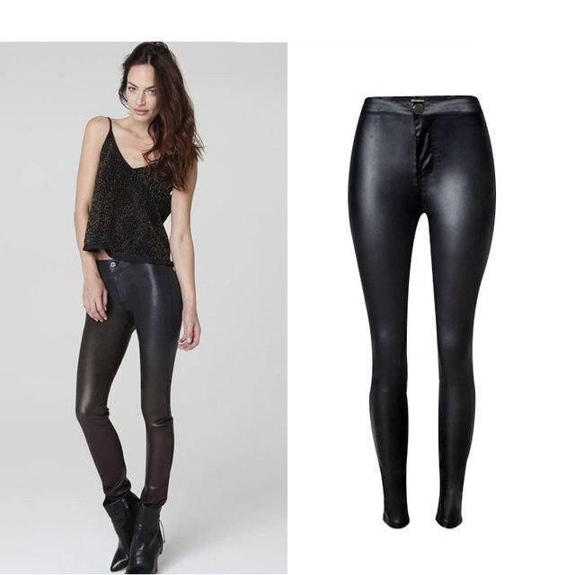 d9529a560debb Femmes Jeans taille haute extensible enduit PU cuir moto Style sauvage  Skinny Sexy Fit crayon pleine