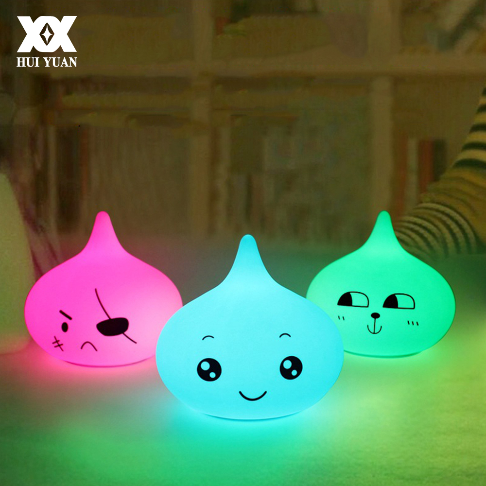 Cute Cartoon Expression Soft Silicone Night Light LED 7 Color Breathing Lamp Decorative Sleep Lamp Pat Lights Children Gift