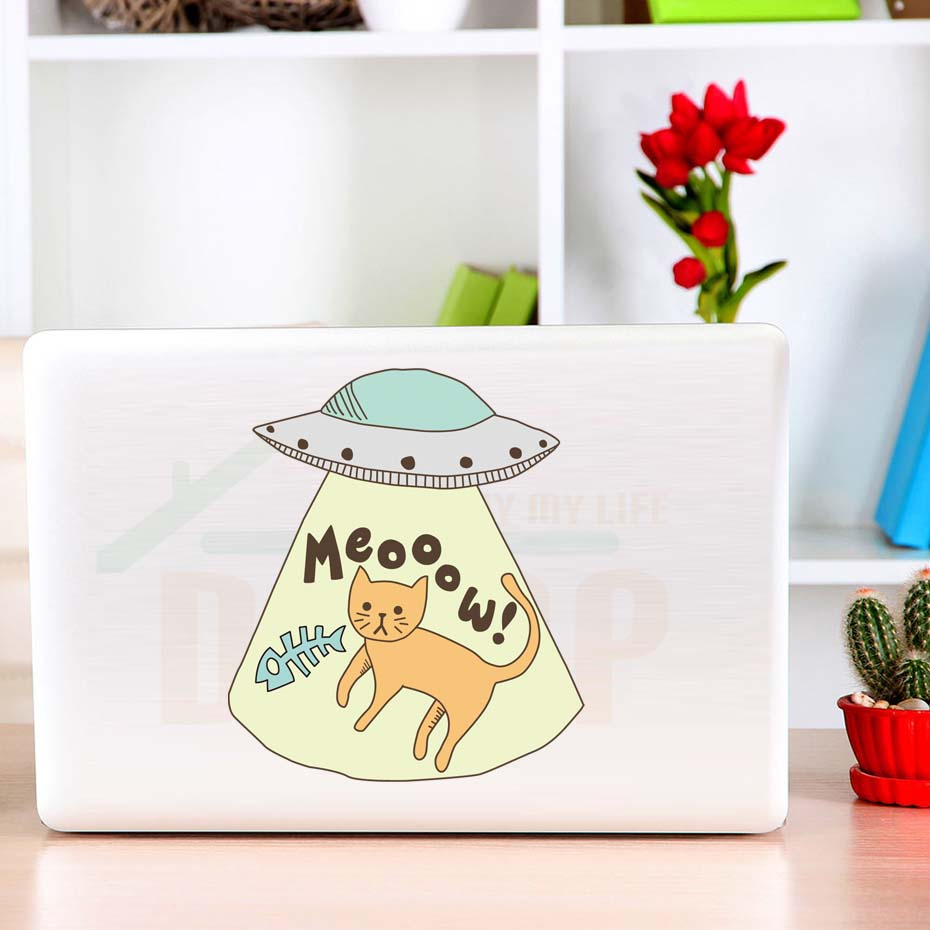 UFO Cat Wall Sticker Removable Cartoon Animal Vinyl Wall Decals Diy Wallpaper For Kids Room Waterproof Car Laptop Stickers