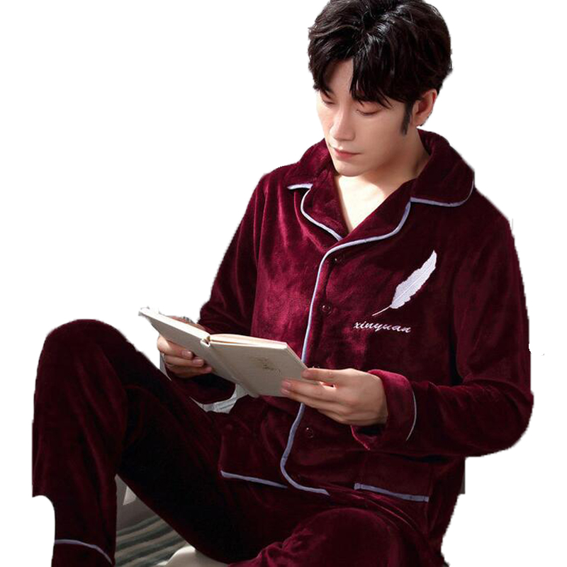 Fashion Brand Luxury Winter Pajamas Men Sleepwear Thick Warm Coral Fleece Mens Pajama Set Male Nightwear Leisure Home Clothing