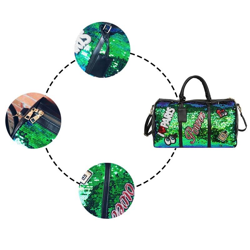 Image 5 - Wobag Fashion Women Travel Bag Casual Sequins Letters Man Shoulder Diagonal Handbag Large Capacity Black/Pink/Silver OutdoorTravel Bags   -