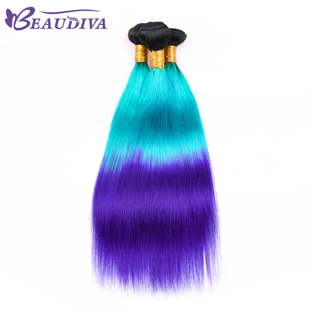 BEAU DIVA Brazilian Straight Hair Bundles Hair Weave TB/BLUE/PURPLE Bundles 4pc Remy Hair Extensions 16-26Inch Free Shipping