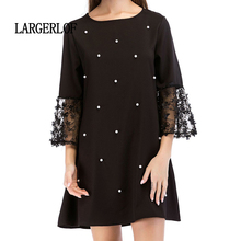 LARGERLOF Ladies Dresses Round Neck Mori Girl Lace Splicing Hollow Sleeve Summer Casual  DS57129