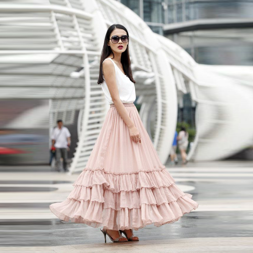 New Design Pink Long Skirt A Line Floor Length Maxi Skirt Ruffles Tiered Women Skirts Personalized Chic Chiffon Long Skirt girl