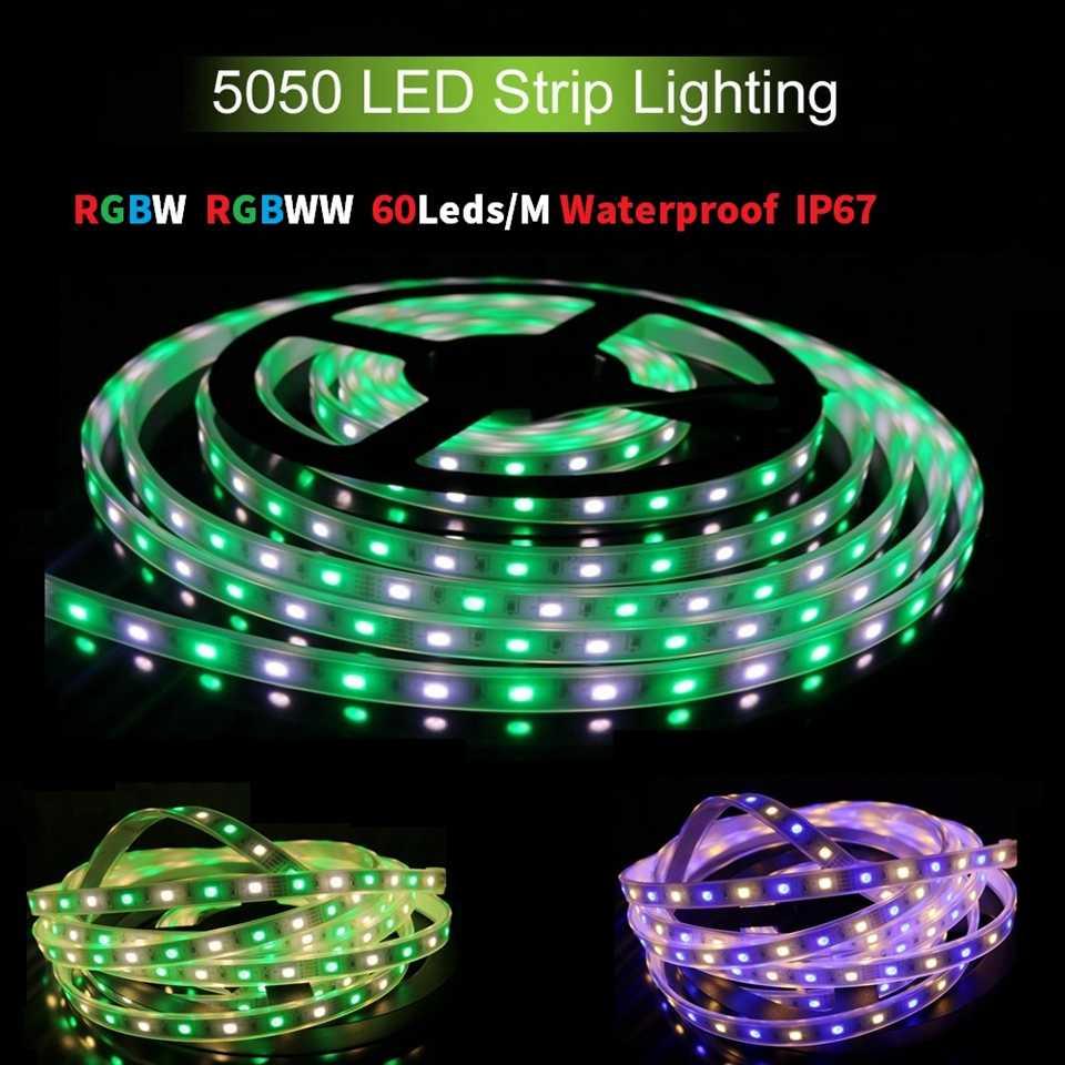 DC12V 60 diod led/M SMD5050 led taśma 5 M/rolka IP67 wodoodporna RGBW RGB + biały/ RGB + ciepły biały elastyczne lampki LED RGBWW miękkie paski