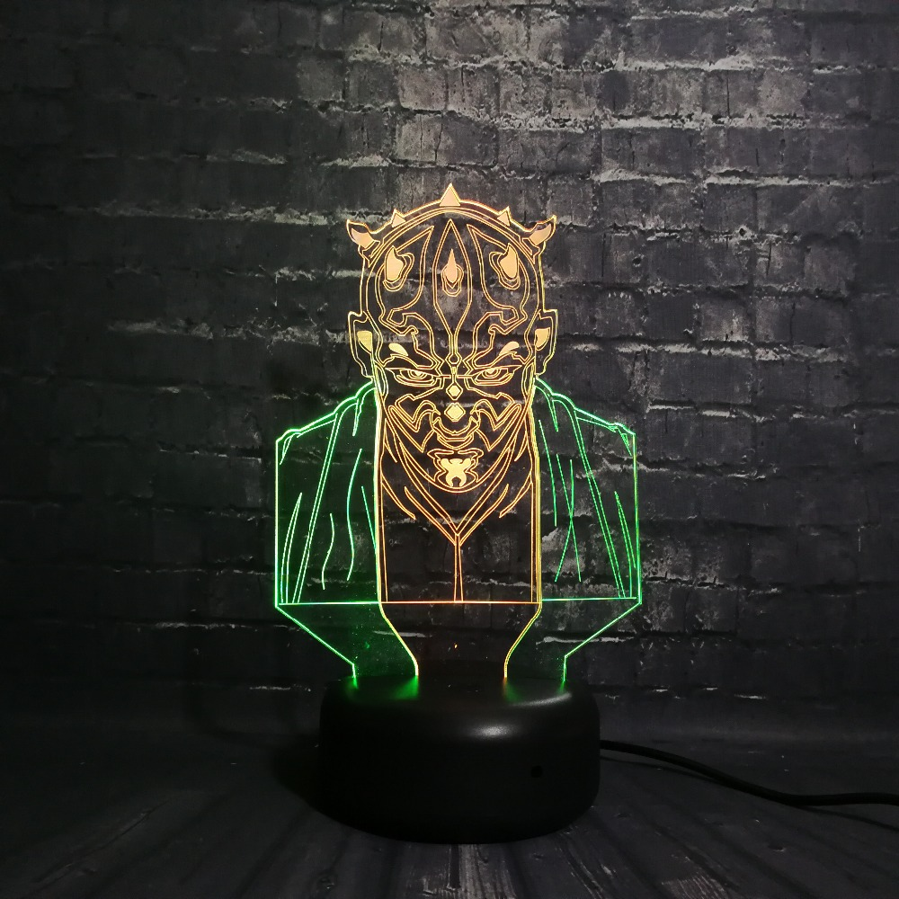 Creative Mixed Color Galactic Empire Star Wars Figure Dathomir Darth Maul Night Light 3D LED USB Lamp Table Decorative Boy Gift