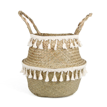 Household Natural Seagrass Wicker Hanging Basket Woven Storage Pot Garden Flower Vase Hanging Basket For Toy Storage Basket