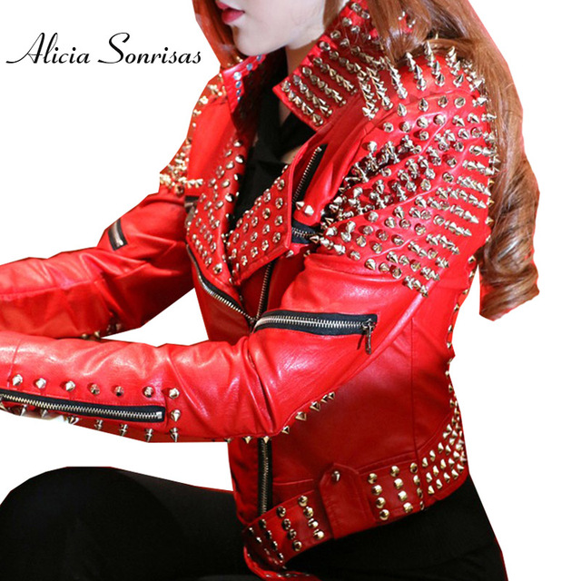 Motocicleta Rojo Cuero Punk Mujeres De Studded Remaches Chaqueta Wqp0AP7zA