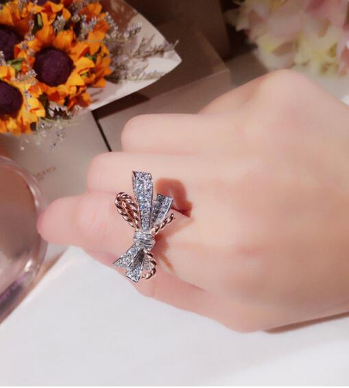 S925 Sterling Silver Micro Rhinestone Bow Rope Rings Two tone Personality Fashion Gold Rings for Women Jewelry