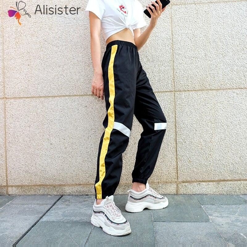 Side Yellow Striped Patchwork Casual Joggers Elastic High Waist Women Pants Capri Loose Fashion Female Sweatpants Sweetwear