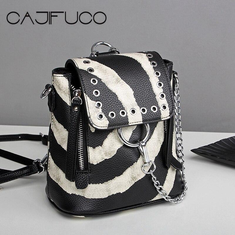 CAJIFUCO Zebra Stripe Rivet Backpack Multifunction Shoulder Bag PU Leather stripe off shoulder playsuit