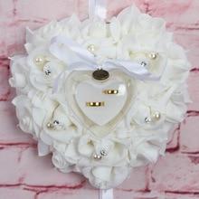 Purple Rose Ring Pillow European Style Wedding Petals Red Pearl Party Petalos De Rosa Artificial Petal White Flower