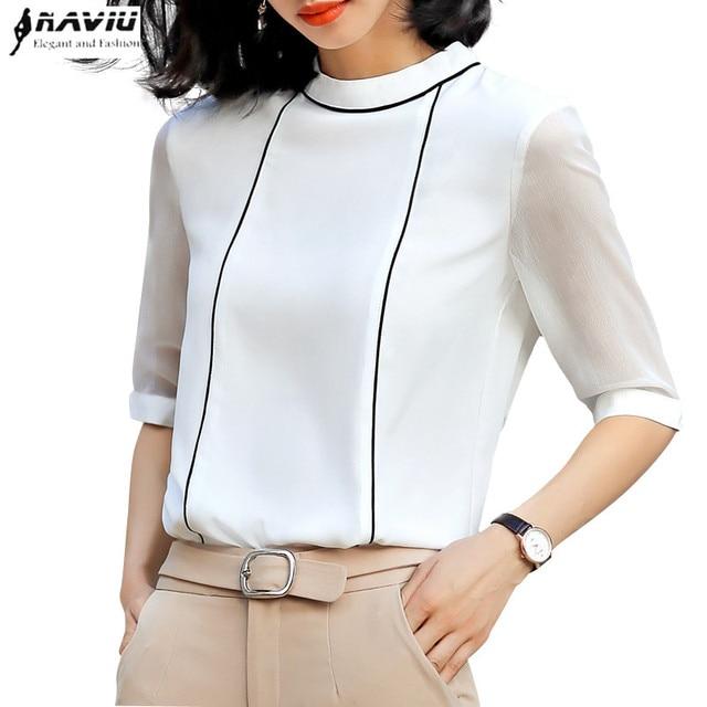 عالية الجودة موضة الصيف النساء قميص 2019 جديد نصف كم فضفاض بلوزة شيفون OL مزاجه مكتب السيدات بلوزات حجم كبير
