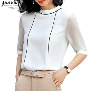 Image 1 - High Quality Fashion Summer Women Shirt 2019 New Half Sleeve Loose Chiffon Blouse OL Temperament Office Ladies Plus Size Tops