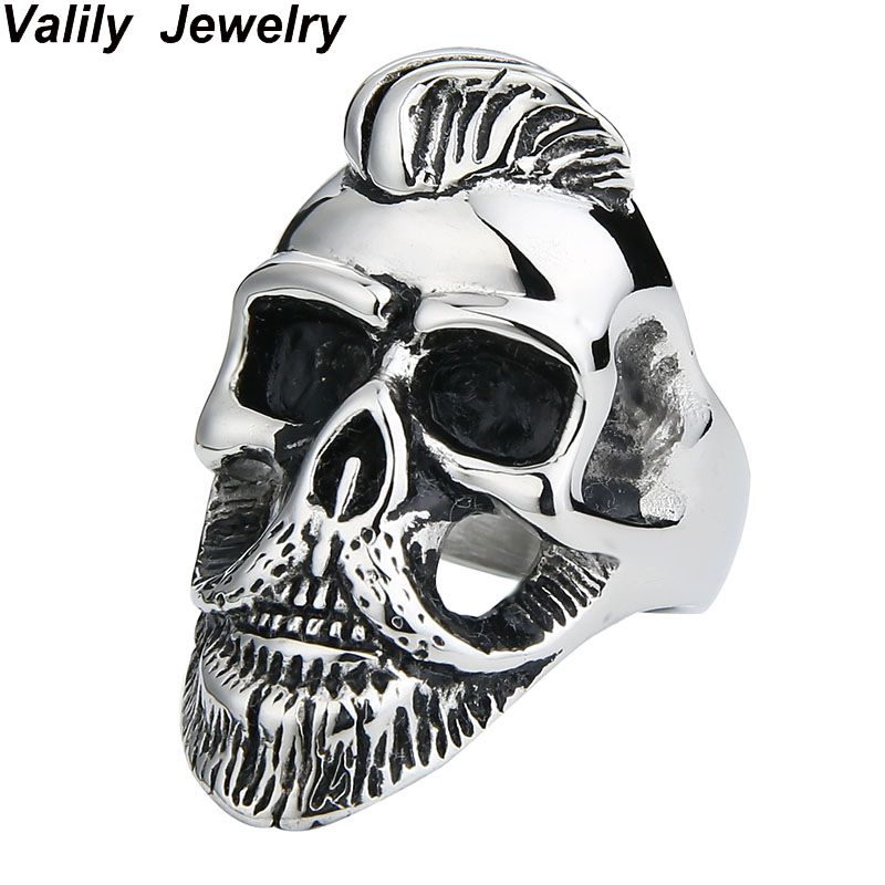 EdgLifU Hommes de Crâne Anneau Vieux Gentleman Barbe Crâne anneau Punk Rock Hiphop acier inoxydable Cheveux Moustache anneaux bijoux