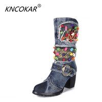 Fashion 2017 Women S Shoes Autumn And Winter High Heeled Beaded Medium Leg Denim Boots Thick