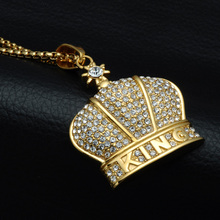 HIP Hop 316L Stainless Steel Bling Iced Out King Crown Necklace Full Rhinestone Gold Necklaces & Pendants for Men Jewelry