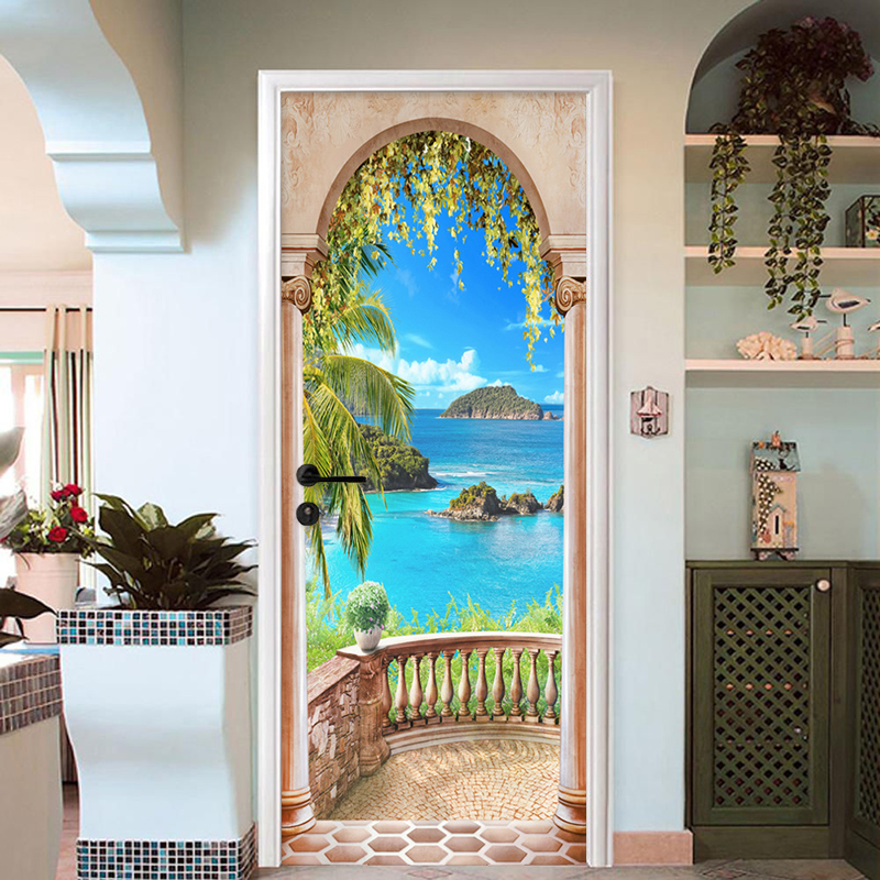 Roman Column Balcony Sea View 3D Door Sticker Wall Mural Papel De Parede Creative PVC Modern Living Room Bedroom Door Wallpaper in Door Stickers from Home Garden