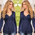 2017 Autumn Winter Women T-shirt Vintage Ladies Tops Blusas Cotton V-neck Casual Long Sleeve Loose Basic Shirt Feminina Clothes
