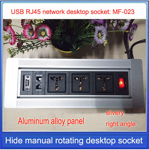 EU plug Desktop socket/hidden manual rotation / multimedia network RJ45 USB  desktop socket /Can choose function module/ MF-023