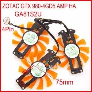 Вентилятор охлаждения для видеокарты ZOTAC GTX 980-4GD5, 3 шт./лот, GA81S2U, 12 В, 0,38a, 4 провода, 4-контактный, VGA