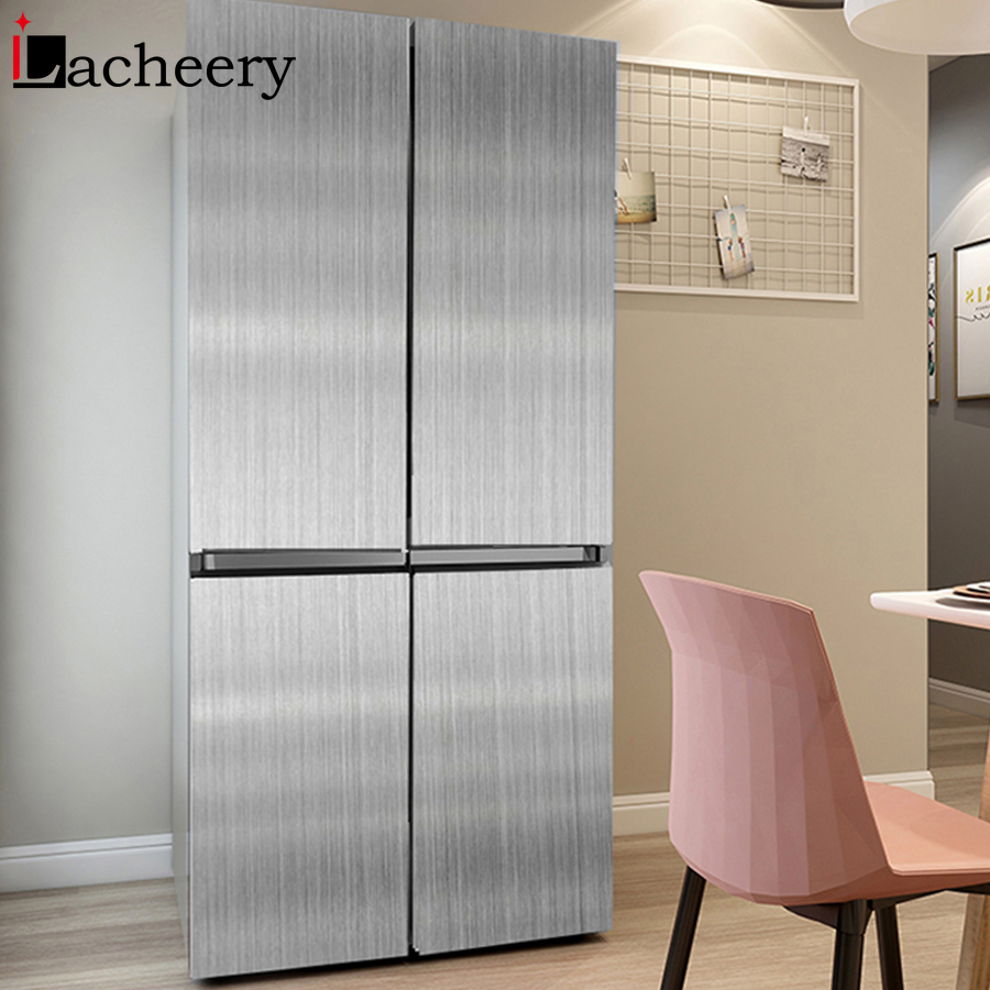 Stainless Steel Metal Texture Vinyl Self Adhesive Wallpaper Kitchen Appliance Refrigerator Renovation Film Waterproof Wall Paper