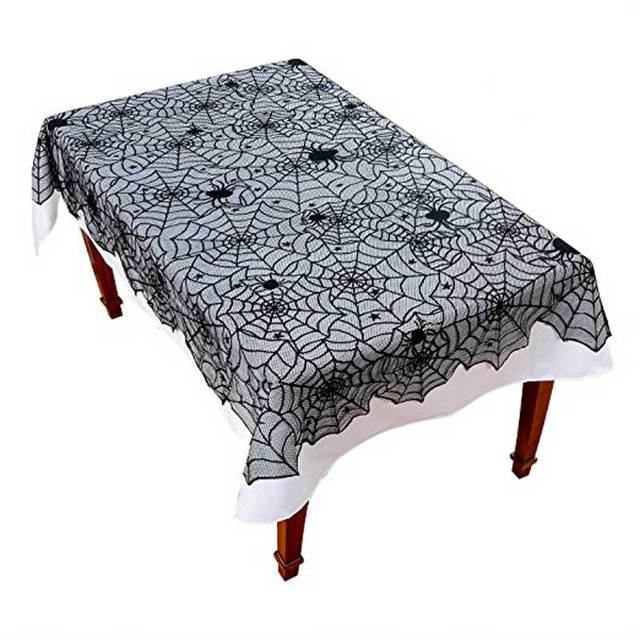 Lace Black Spider Web Halloween Decoration For Home Halloween Party  Decoration Rectangle Tablecloth 54X72inch