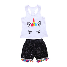 3PSC Newborn Baby Girl Animal Unicorn Vest Tops Bow-knot Sequins Tassel Pants Summer New Outfits 0-24 M new