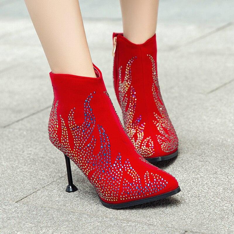 Tamaño Altos Nuevos Tobillo Tacones Cristal Gran Señoras Sexy rojo Mujeres De Boda Primavera Negro Partido Otoño 43 Botas Mujer Zapatos w4a1rwqB